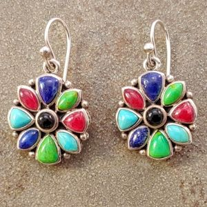 Barse Multicolor Natural Stone and Sterling Earrin